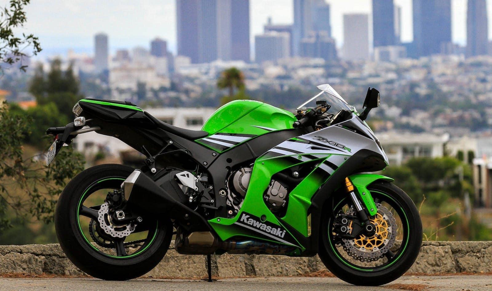 Kawasaki ZX-10R green motorcycle.