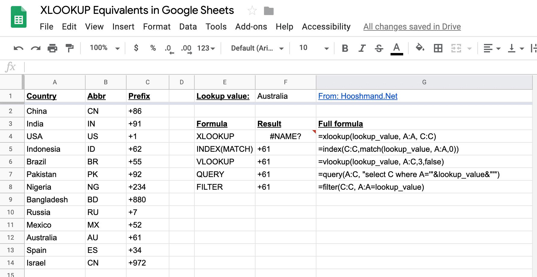 Google Sheets - XLOOKUP equivalents demonstrated