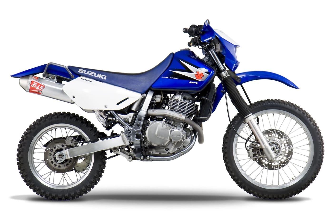 Blue suzuki dr650 stock photo