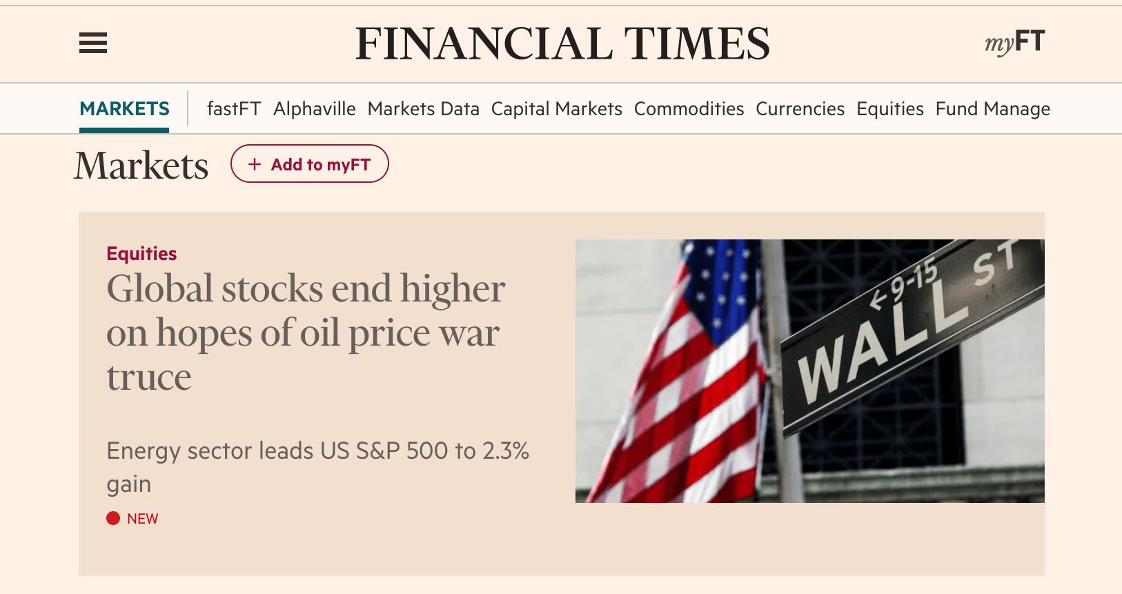 "Financial times headline - stocks rise ""on hopes of"""